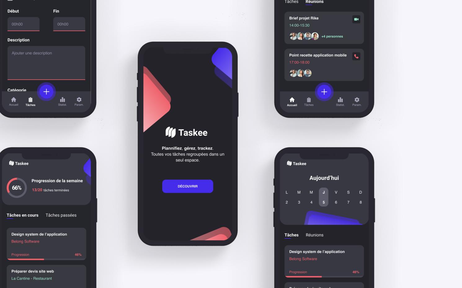 Mockup présentant une version plus complète de l'application d'organisation du travail, Taskee.