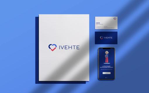 Mockup présentant une des pistes pour l'identité visuelle de l'application d'éducation thérapeutique, IVEHTE.