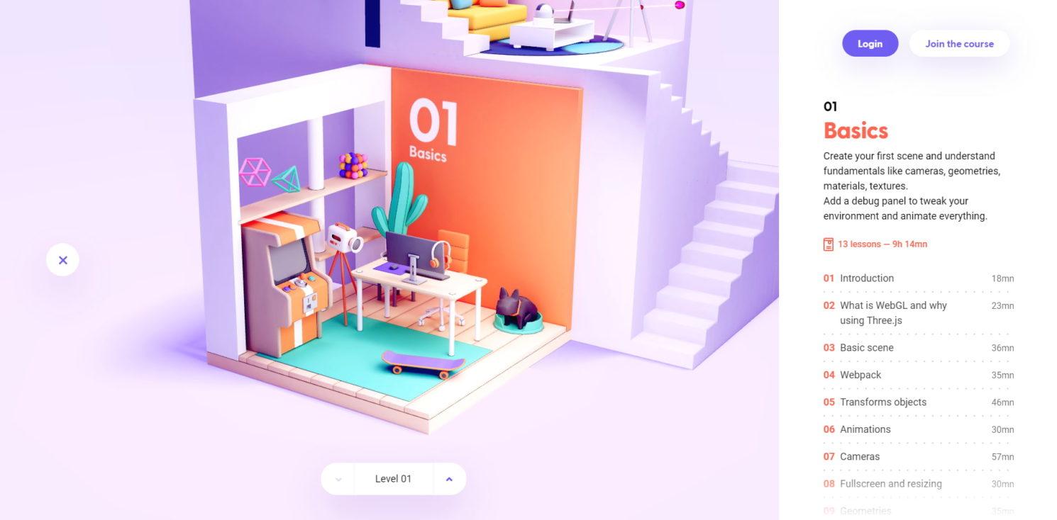 Exemple du site Three JS Journey où la 3D est au cœur du site.