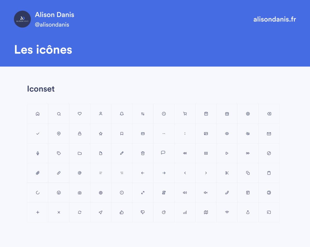 Exemple des icônes dans un Design System.