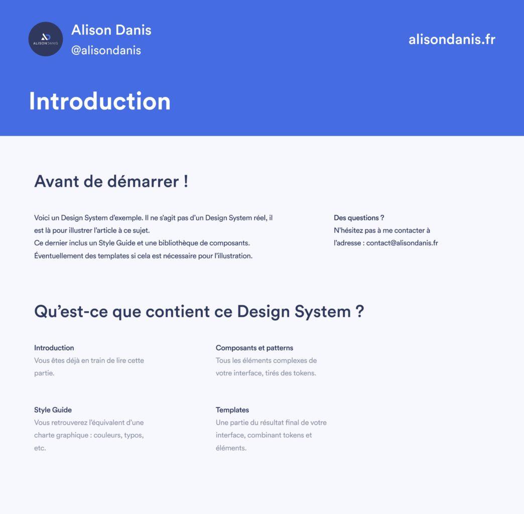 Exemple d'une Introduction dans un Design System.