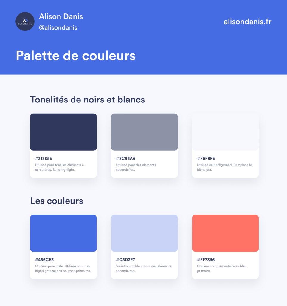 Exemple d'une palette de couleurs dans un Design System.