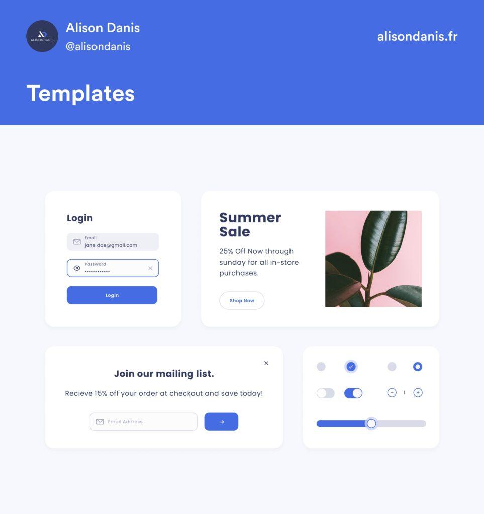 Exemple des templates dans un Design System.