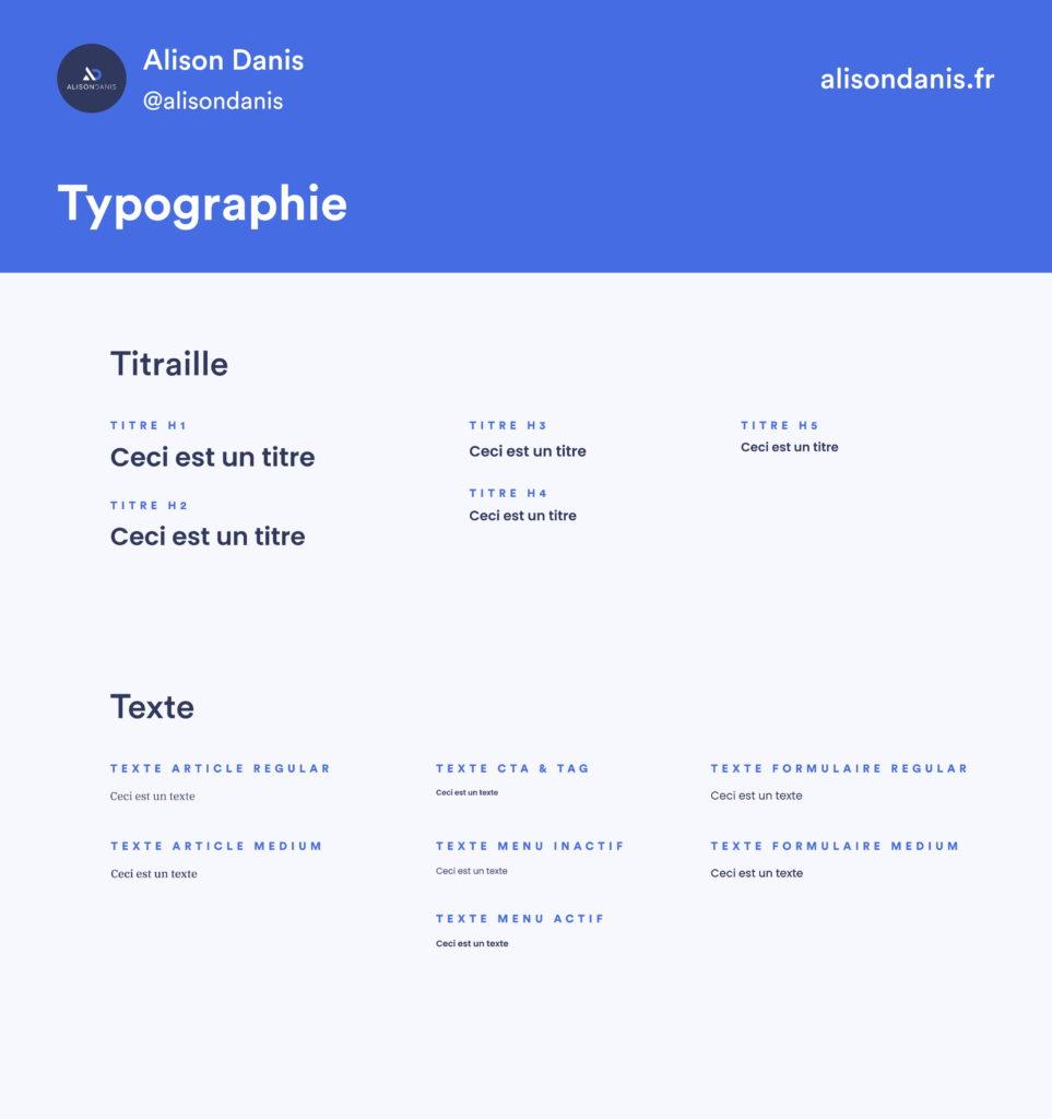 Exemple des typographies dans un Design System.